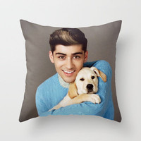 Zayn Malik One Direction Labrador Retriever Puppy Throw Pillow by Toni Miller | Society6