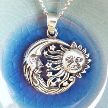 Sun and Moon Necklace in Sterling Silver