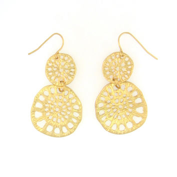 Matte Gold Multi Filigree Disc Earrings