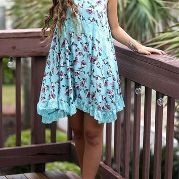 Mint green Floral Lace Plus Size Honey Girl Chiffon Mini Dress