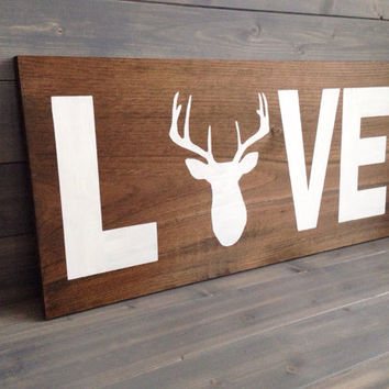 Love Sign With Deer Head Wood Custom Stained