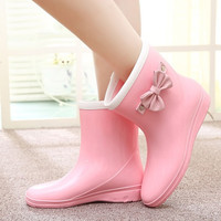 2015 fashion rain boots waterproof flats rubber rainboots women rain shoes bowknot botas de agua water shoe for woman CL765
