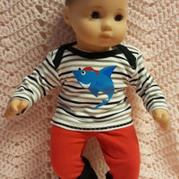 "Baby Doll Clothes to fit 15 inch baby doll BOY ""Pirate Shark"" 15 inch playset top socks sock pants S10"