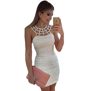 Womens Elegant Cute White Lace Dress Fashion Hollow Out Sleeveless Summer Sheath Bodycon Party Dress Robe