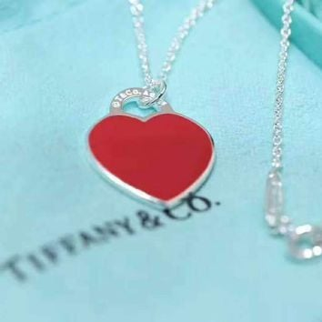 Tiffany & Co. New Peach Heart Necklace