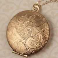 Floral Locket Necklace, Gold Locket, Round Pendant, Paisley Flower Pendant, Layering