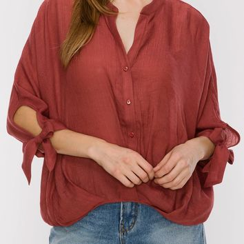 Kirstie Draped Front Top in Marsala