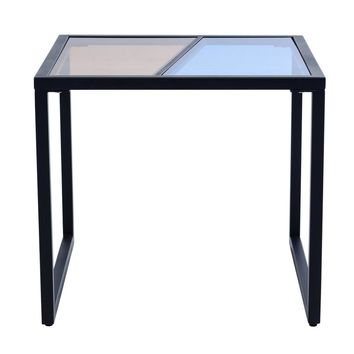 Modern Metal Frame End Table Nightstand Side Table with Tempered Glass Top