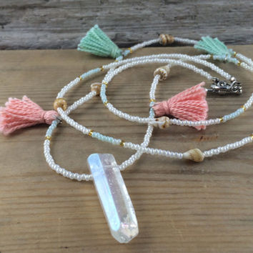 Tassel, Shell and Crystal Beaded Long Boho Necklace/Bracelet/Anklet in Coral and Mint// Long Necklace / Wrap Bracelet / Bohemian Fringe/Boho