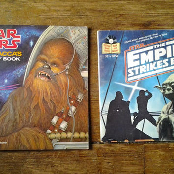 Star Wars Book Lot: 1979 Chewbacca's Activity Book and 1980s Empire Strikes Back Book and Record.  VF.