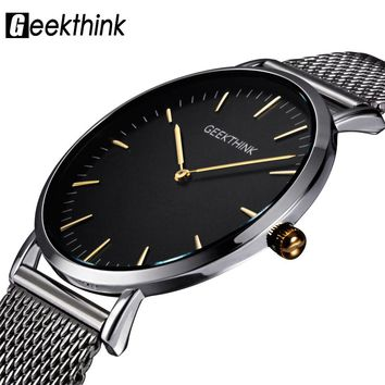 GEEKTHINK Top Luxury Brand Quartz watch men Casual Japan quartz-watch stainless steel Mesh strap ultra thin clock male New