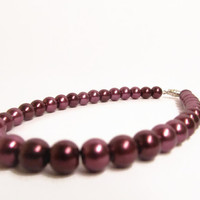 Designer Dog Collar - Burgundy Pearl Dog Necklace - Dog bling, pearl dog collar
