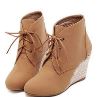 Brown Suedette Lace Up Wedge Ankle Boots