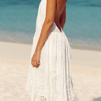 White Halter Tie Bare Back Lace Dress