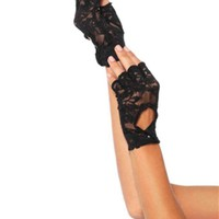 VONE5FW Lace keyhole fingerless gloves in BLACK