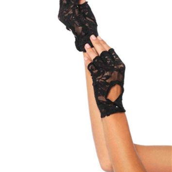 DCCKLP2 Lace keyhole fingerless gloves in BLACK