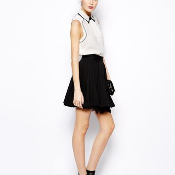 French Connection Kelby Skirt with Lace Underlay - Black lace