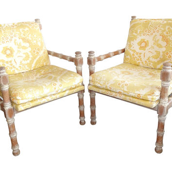 Faux-Bamboo Chairs, Pair