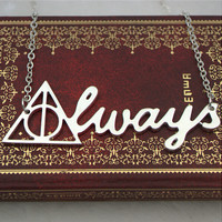 2015 Movie harry potter deathly hallows necklace50cm vintage retro silver harry potter always letter pendant for men and women