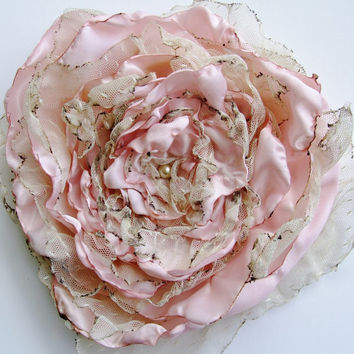 Pastel tea stained Pink Flower, Wedding accessory, Fascinator, Hair Clip, Pin Brooch, Bridal Sash, Decor, Wall Decor, maternity sash