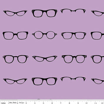 Glasses Fabric, Purple Black from Riley Blake, Geekly Chic Glass, 1 Yard