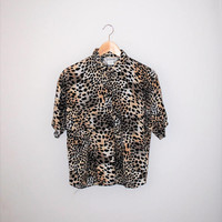 90s animal print rayon blouse small leopard print short sleeve button up shirt