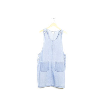 90s denim jumper dress / vintage 1990s / overalls / overall jean dress / faded / mini / grunge / basic / minimal / minimalist