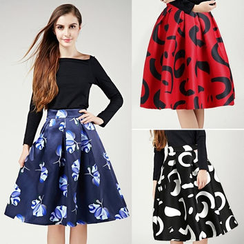 Autumn Winter Women Fashion High Waist A-line Mini Long Dress = 1667501508