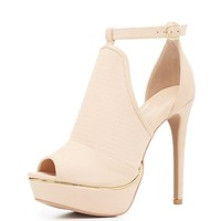 Peep Toe Cut-Out Platform Heels