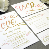 Love Script Wedding Invitations Gold and Coral Pocket Invites Calligraphy Wedding Invitation Suite Rustic Wedding Invite Set Modern Wedding