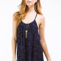 Royal Blue Tribal Print Spaghetti Tier Tank