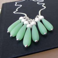 Opaque Seafoam Bib Necklace: Mint Green Long Teardrop Sea Glass Silver Sparkle Beach Jewelry, Spring Green Beaded Fringe Necklace