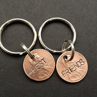 Best Friends Penny Keychain Pair (Custom Hand-stamped)