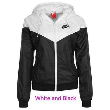 NIKE Fashion Trending Hooded Zipper Cardigan Sweatshirt Jacket Coat Windbreaker Sportswear(10-color) White and black G
