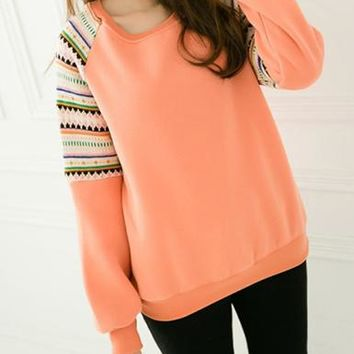 Women's Pastel Sweatshirt - Southwest-Style Striped Trim