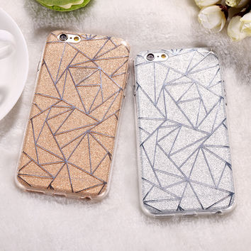Fashion Diamond Grid Skin Glitter Case For iPhone 7 Plus 6 6S Plus 4.7 &5.5 Dual Layer Soft TPU Shockproof Cover Phone Cases Bag