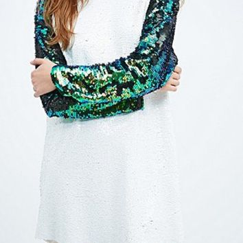 Native Rose Sequin Baseball Dress in White - Urban Outfitters