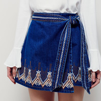 Lace Embroidery Denim Skirt