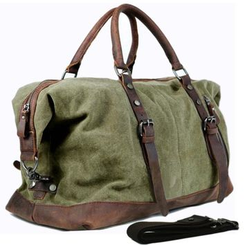 Vintage military Canvas Leather men travel bags