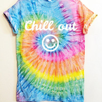 Chill Out Smiley Face Saturn Tie Dye Graphic Print Unisex Tee Shirt