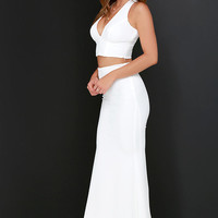 Flutterby Ivory Two Piece Maxi Dress