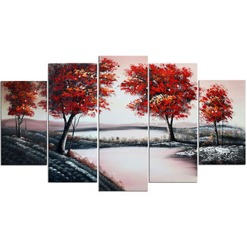 Red Tree Lowland Landscape Canvas Wall Art Oil Painting