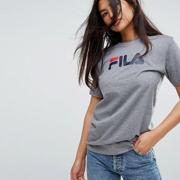 Fila Oversized Boyfriend T-Shirt With Chest Logo at asos.com