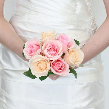 """Silk Rose Bouquet in Pink and Apricot9"""" Tall x 7"""" Bouquet Head Diameter"""