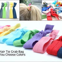 No Tug Hair Tie Grab Bag (25) Yoga Ribbon Hair Elastics Gift Set - Emi Jay Inspired Cloth Hair Bands - Knotted Hair Tie Women's Accessories