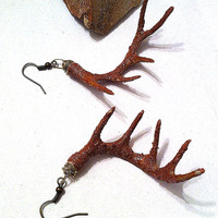 Textured hand painted brown deer antler earrings natural woodland jewelry