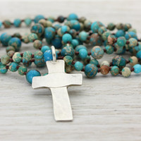 Devotion Necklace - Sterling Silver Organic Cross and Turquoise Beaded Necklace - Handmade Artisan - Boho Spiritual - Christina Guenther
