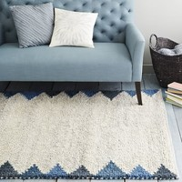 Steven Alan Triangle Edge Wool Shag Rug - Blue Lagoon
