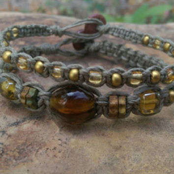 Hemp Bracelet Set, Earth Tones, Glass Beads, Earthy Jewelry, Gift for Her Jewelry Set, Hemp Bracelets, Fall, Handmade Jewelry