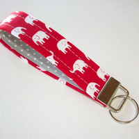 Key FOB / KeyChain / Wristlet - soft - red with White Elephants with gray dots - coworker gift mothers day under 10